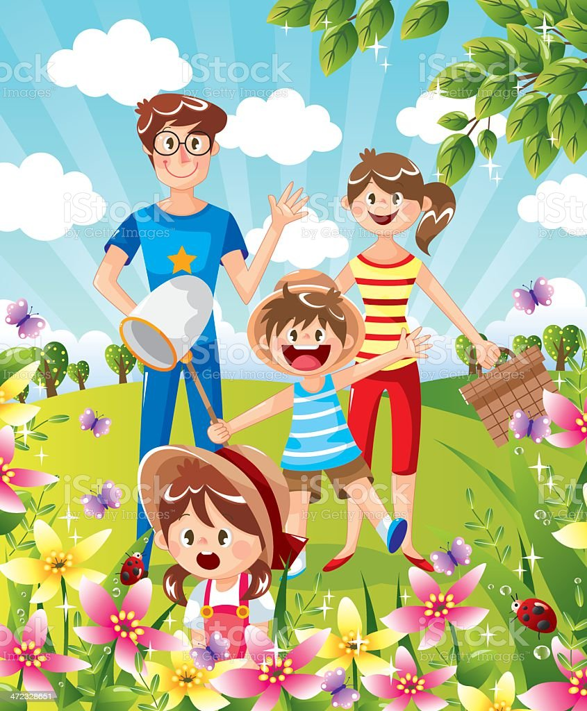 Happy family in park vector art illustration
