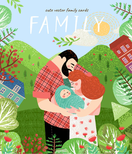 happy family in summer. Cute vector poster, card or cover with an illustration of a father, mother and newborn baby on a background of green nature, mountains and forest landscape with flowers vector art illustration