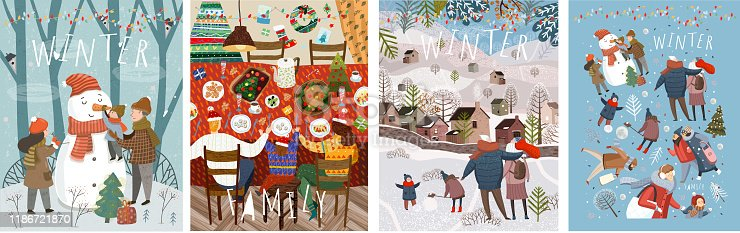 istock Happy family in the winter. Vector illustrations of mother, father and child on the street making a snowman at home at the festive Christmas and New Year table and walking for a walk in nature. 1186721870