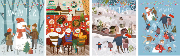 Happy family in the winter. Vector illustrations of mother, father and child on the street making a snowman at home at the festive Christmas and New Year table and walking for a walk in nature. Happy family in the winter. Vector illustrations of mother, father and child on the street making a snowman at home at the festive Christmas and New Year table and walking for a walk in nature. christmas family stock illustrations