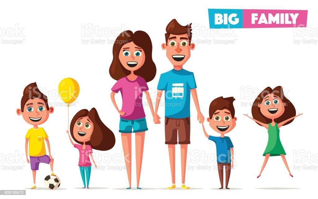 Happy Family In Travel Cartoon Vector Illustration Royalty Free