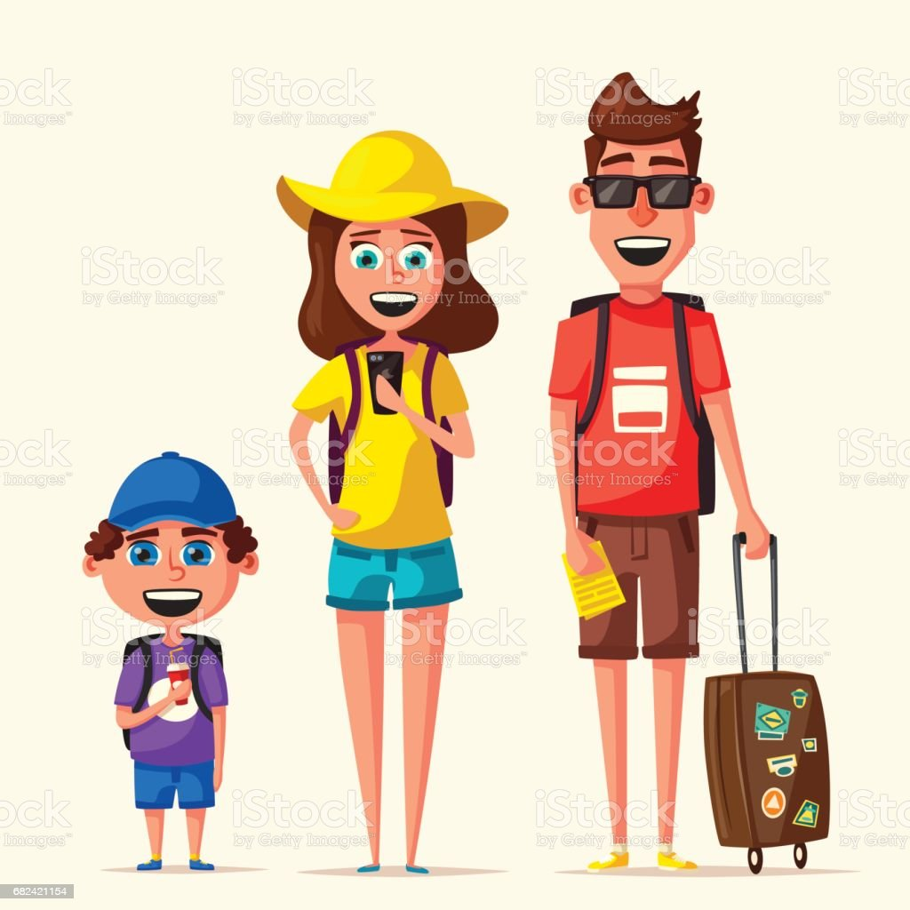 Happy Family In Travel Journey Of Parents And Child Cartoon Vector Illustration Royalty