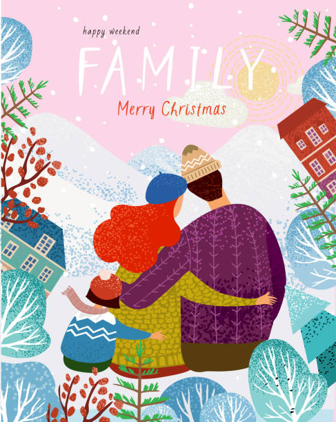 illustrazioni stock, clip art, cartoni animati e icone di tendenza di happy family in winter, vector illustration of a loving family in nature outdoors, mom, dad, child and dog walk among the mountains, trees and fir trees, cute postcard for christmas and new year - city walking background