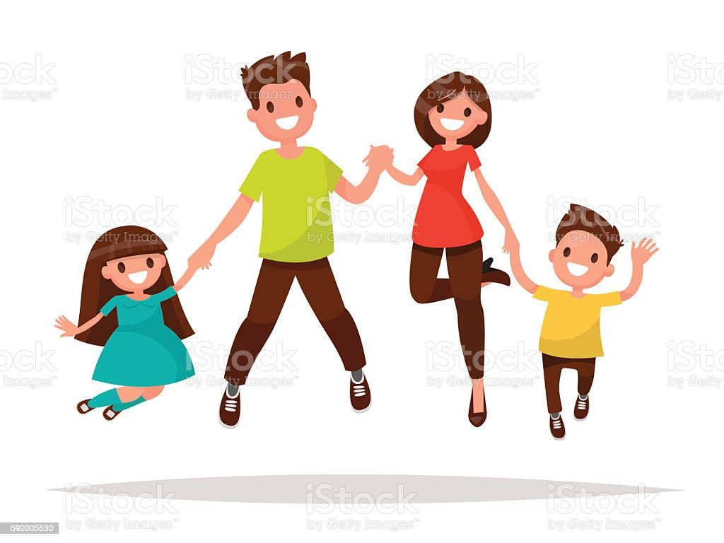 Happy Family Is Jumping Father Mother Daughter And Son Holding Stock