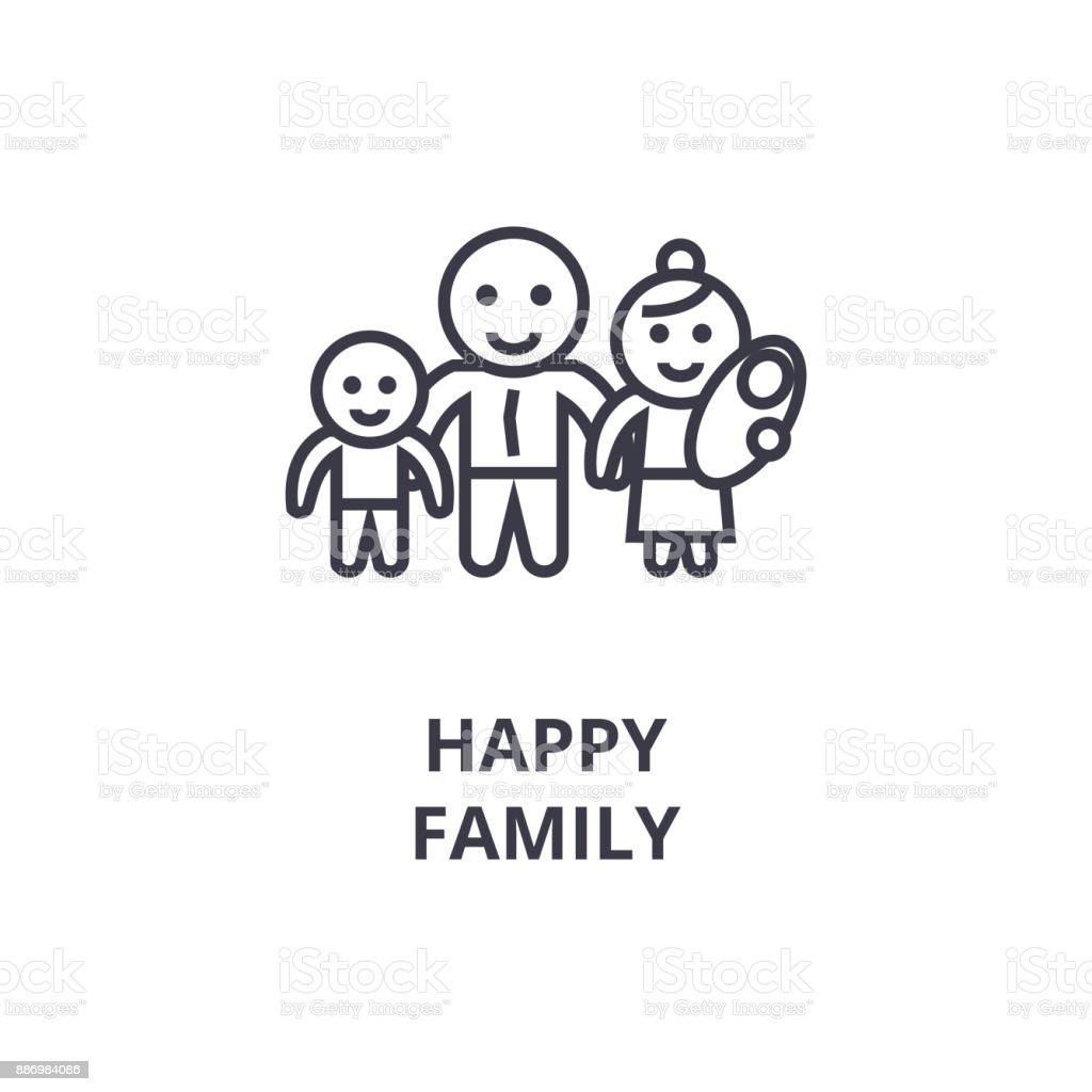 happy family line icon, outline sign, linear symbol, vector, flat illustration vector art illustration