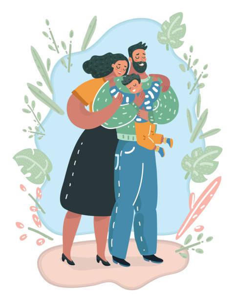 glückliche familie. kleine jungen und familie. - adoption stock-grafiken, -clipart, -cartoons und -symbole