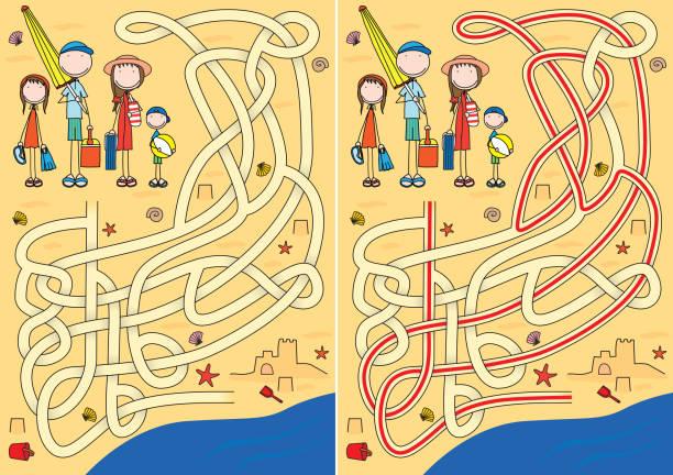 Família feliz labirinto - ilustração de arte em vetor
