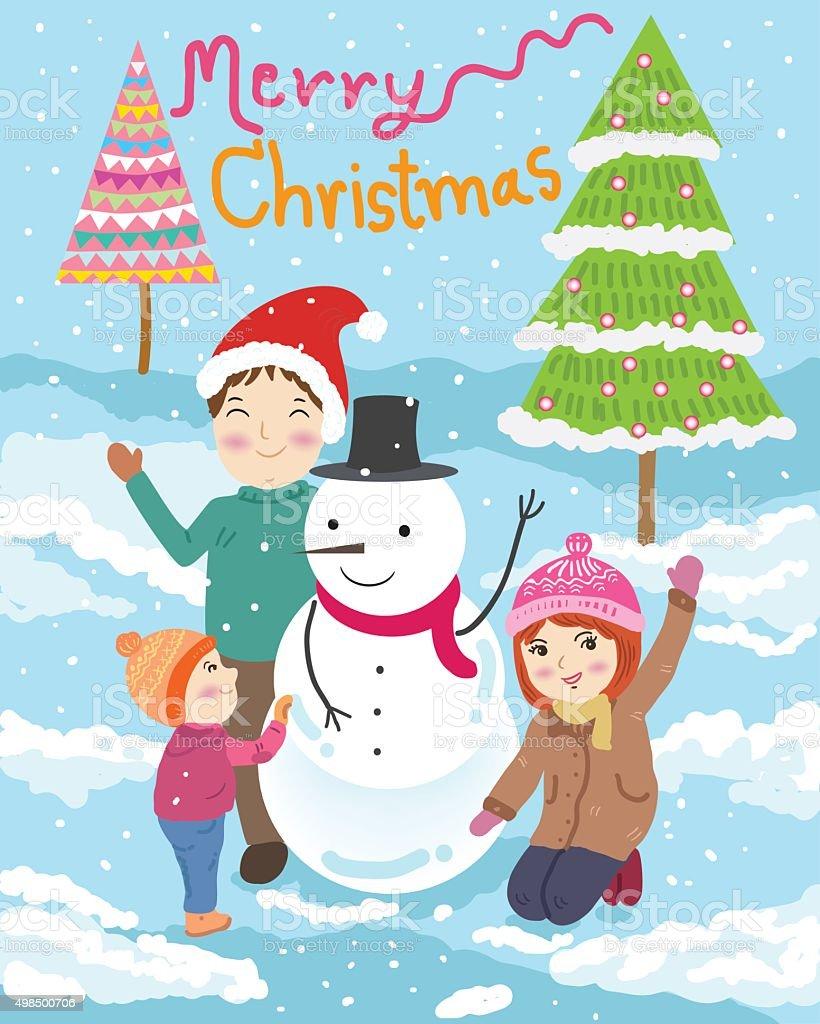 Buon Natale Famiglia.Famiglia Felice Buon Natale Illustrazione Vettoriale Immagini