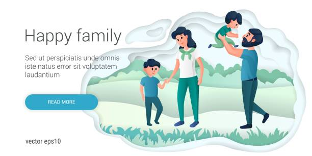 Happy family, mother and father playing with their children. Young parents, healthy couple and their children cartoon characters. Adoption paper art style vector illustration. Happy family, mother and father playing with their children. Young parents, healthy couple and their children cartoon characters. Adoption paper art style vector illustration. young couple stock illustrations