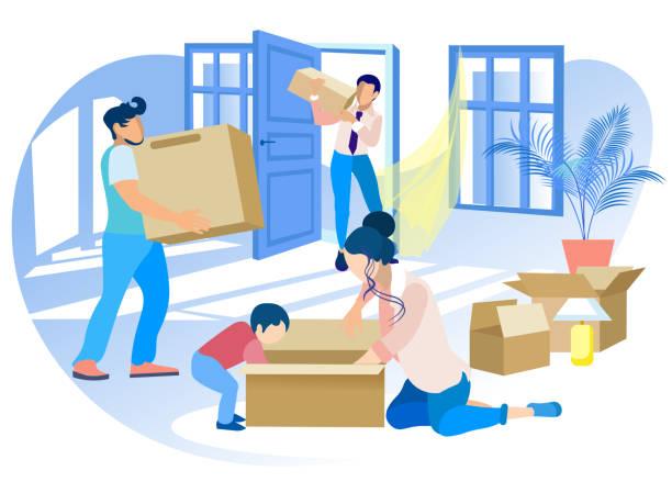 illustrazioni stock, clip art, cartoni animati e icone di tendenza di happy family moving into new house. real estate. - real life