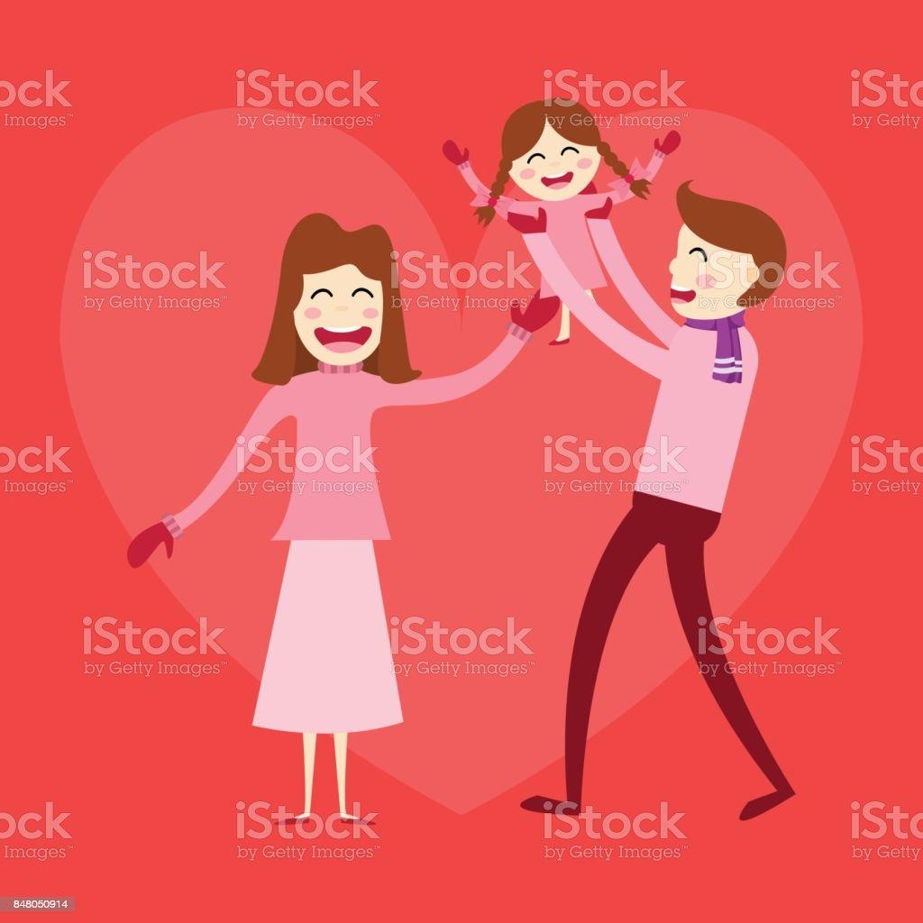 Ilustração De Família Feliz Pai Mãe E Filhos Filha Do Bebê Em Seu