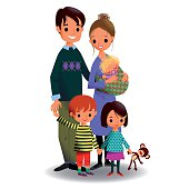Young happy family with three children on white background. EPS 10, use transparency.