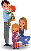 Young happy family with two children on white background. EPS 10, use transparency.