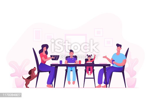 istock Happy Family of Mother Father and Little Kids Having Dinner Around Table with Food. People Eating Meal and Talking Together, Cheerful Characters Group During Lunch. Cartoon Flat Vector Illustration 1170094927