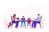 Happy Family of Mother Father and Little Kids Having Dinner Around Table with Food. People Eating Meal and Talking Together, Cheerful Characters Group During Lunch. Cartoon Flat Vector Illustration