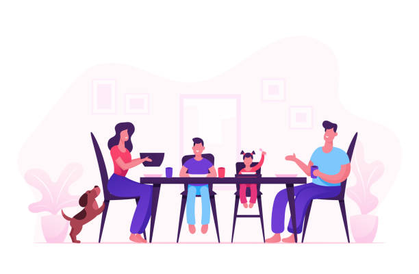 illustrazioni stock, clip art, cartoni animati e icone di tendenza di happy family of mother father and little kids having dinner around table with food. people eating meal and talking together, cheerful characters group during lunch. cartoon flat vector illustration - cena