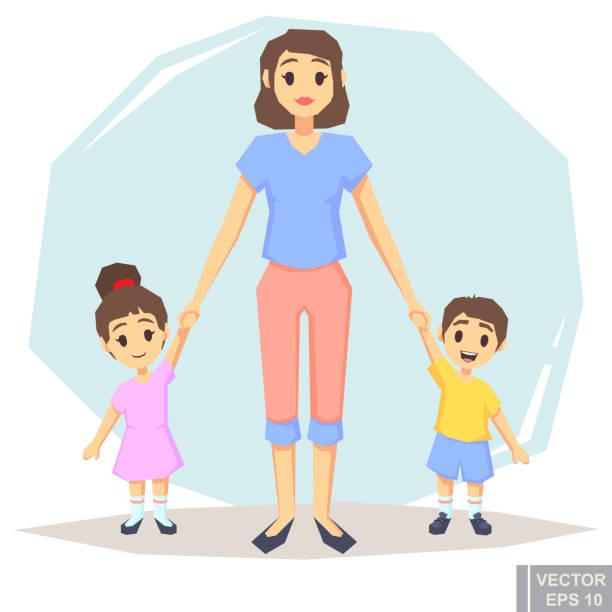 3 シングルマザー一緒に保持しているポーズの息子娘との幸せな家庭が手、親と子の漫画のベクトル図 - 姉妹点のイラスト素材/クリップアート素材/マンガ素材/アイコン素材