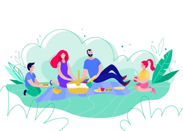 Happy family on a picnic. Dad, mom, son and daughter are resting in nature. Happy family on a picnic. Parents and children spend time outdoors. Dad, mom, son and daughter are resting in nature. Vector illustration in a flat style picnic stock illustrations