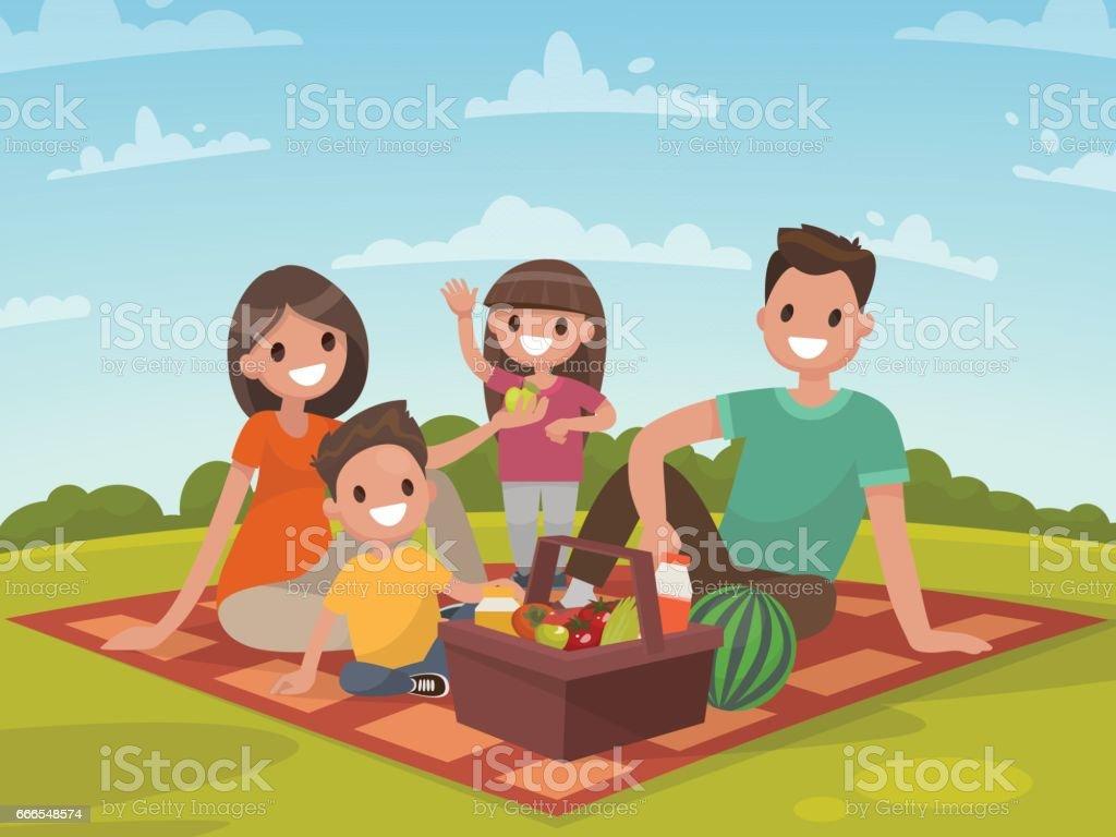 ピクニックに幸せな家族。父、母、息子、娘が自然で休んでいます。 ベクターアートイラスト
