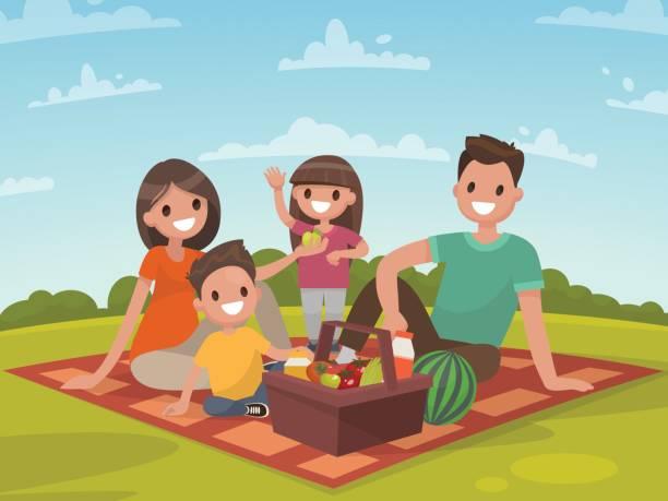 ilustraciones, imágenes clip art, dibujos animados e iconos de stock de familia feliz en un día de campo. papá, mamá, hijo e hija descansan en la naturaleza - picnic