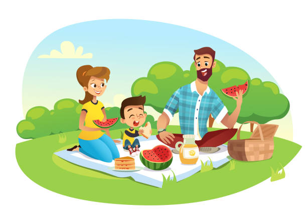 Happy family on a picnic. Dad, mom, son are resting in nature. Vector illustration in a flat style. Happy family on a picnic. Dad, mom, son are resting in nature. Vector illustration in a flat style picnic stock illustrations