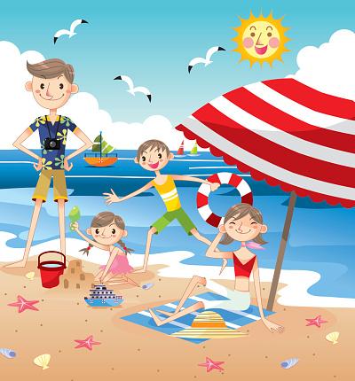 Happy Family on beach