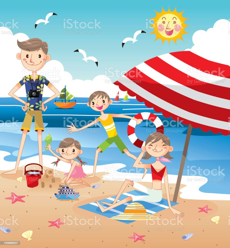 Happy Family on beach vector art illustration