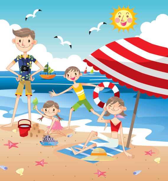 Family Pictures In The Beach: Best Family Beach Vacation Illustrations, Royalty-Free