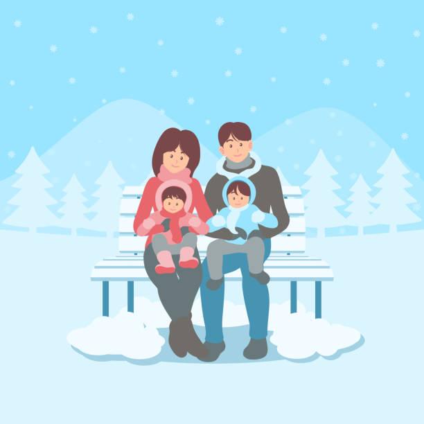 illustrazioni stock, clip art, cartoni animati e icone di tendenza di happy family on bench in winter landscape - woman portrait forest