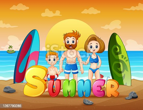 Happy family on summer holiday illustration
