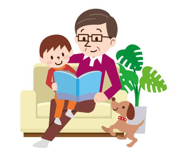 glückliche familie auf der couch lesen sie das buch zusammen - wohnzimmer gemütlich stock-grafiken, -clipart, -cartoons und -symbole