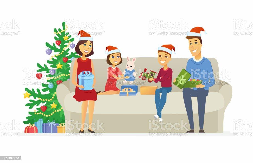 Glückliche Familie Weihnachtsgeschenke Cartoon Menschen Zeichen ...