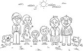 Big happy family outdoors, black and white
