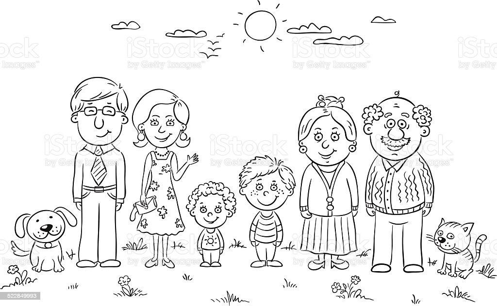 Happy family outline vector art illustration