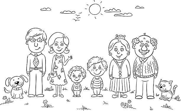 happy family outline - old man standing drawings stock illustrations, clip art, cartoons, & icons