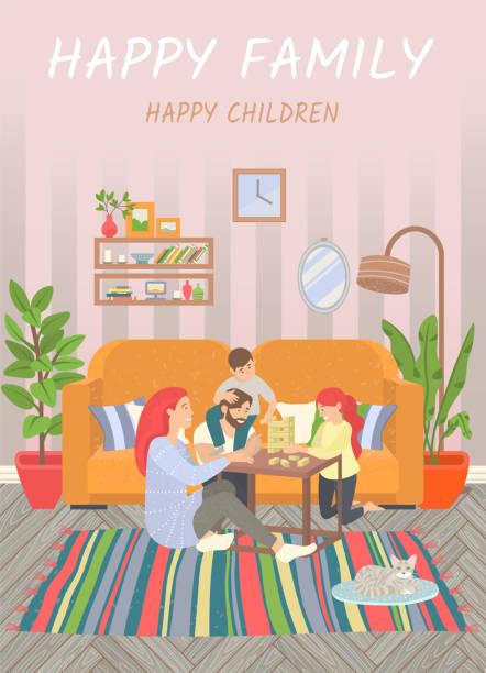 bildbanksillustrationer, clip art samt tecknat material och ikoner med happy familj, föräldrar och barn leker hemma - cosy pillows mother child