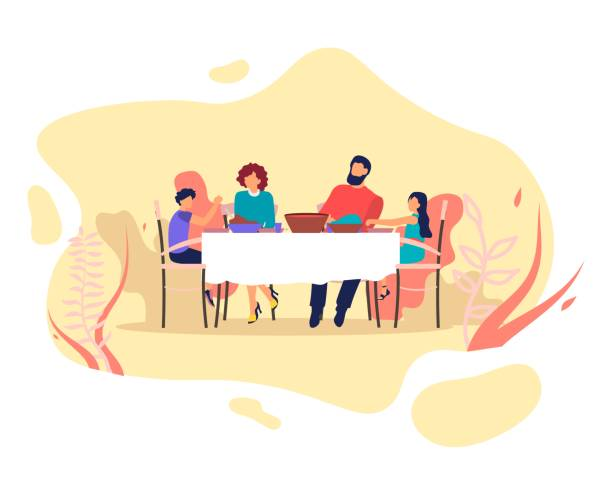 happy family parents and kids eating and chatting - family dinner stock illustrations