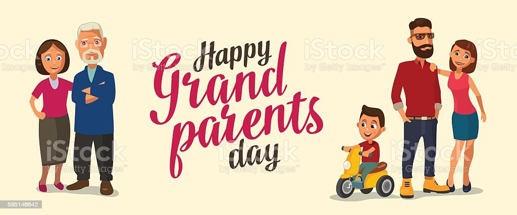 Happy family. Parents, grandparents and child on a tricycle. - ilustración de arte vectorial