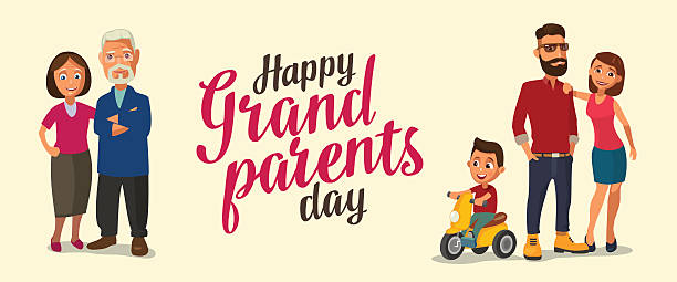 ilustraciones, imágenes clip art, dibujos animados e iconos de stock de happy family. parents, grandparents and child on a tricycle. - abuelos