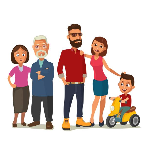 happy family. parents, grandparents and child on a tricycle. - old man on bike stock illustrations, clip art, cartoons, & icons