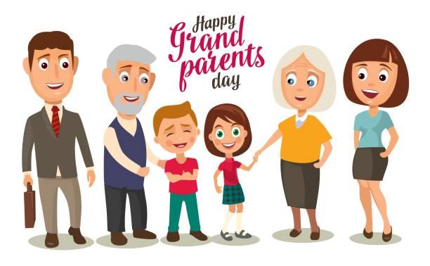 ilustraciones, imágenes clip art, dibujos animados e iconos de stock de familia feliz. padres, abuelos y niños. - nietos
