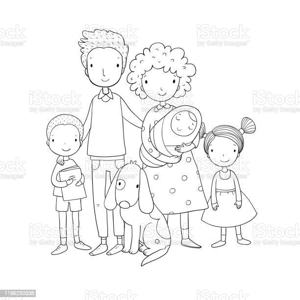 Happy family parents with children cute cartoon dad mom daughter son vector id1166250335?b=1&k=6&m=1166250335&s=612x612&h=v9r00r sa dbqsjbve cxtdifjd3ie2cpdbiqvr3nae=
