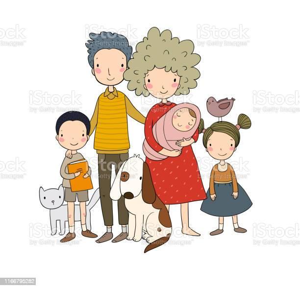Happy family parents with children cute cartoon dad mom daughter son vector id1166795282?b=1&k=6&m=1166795282&s=612x612&h=byo0v20f4kriukrm 0h uuzm1xqoji eanqhaqpxwyw=
