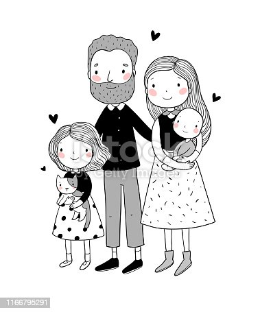 istock A happy family. Parents with children. Cute cartoon dad, mom, daughter, son and baby. Funny pet cat and dog 1166795291