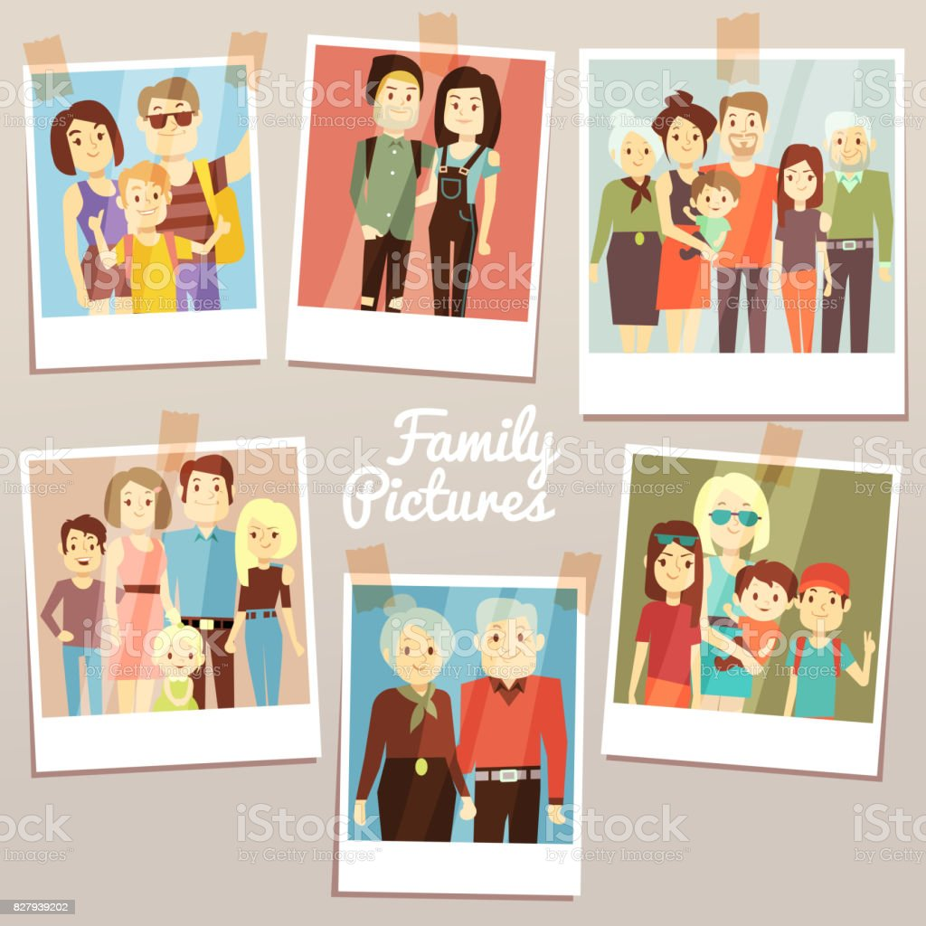 Happy family pictures with different generations vector set. Photo familys memories vector art illustration