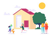 Happy Family Play at Home. Children and Parents stand near New House. Father, Mother, Son and Daughter Together Outdoors. Dream Lifestyle Concept. Flat Character Vector Illustration