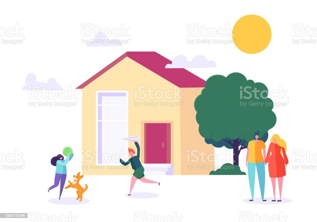 Heureuse famille de jouer à domicile. Enfants et Parents se tiennent près de maison neuve. Père, mère, fils et fille ensemble à l'extérieur. Concept de mode de vie de rêve. Illustration vectorielle plat de caractère - Illustration vectorielle