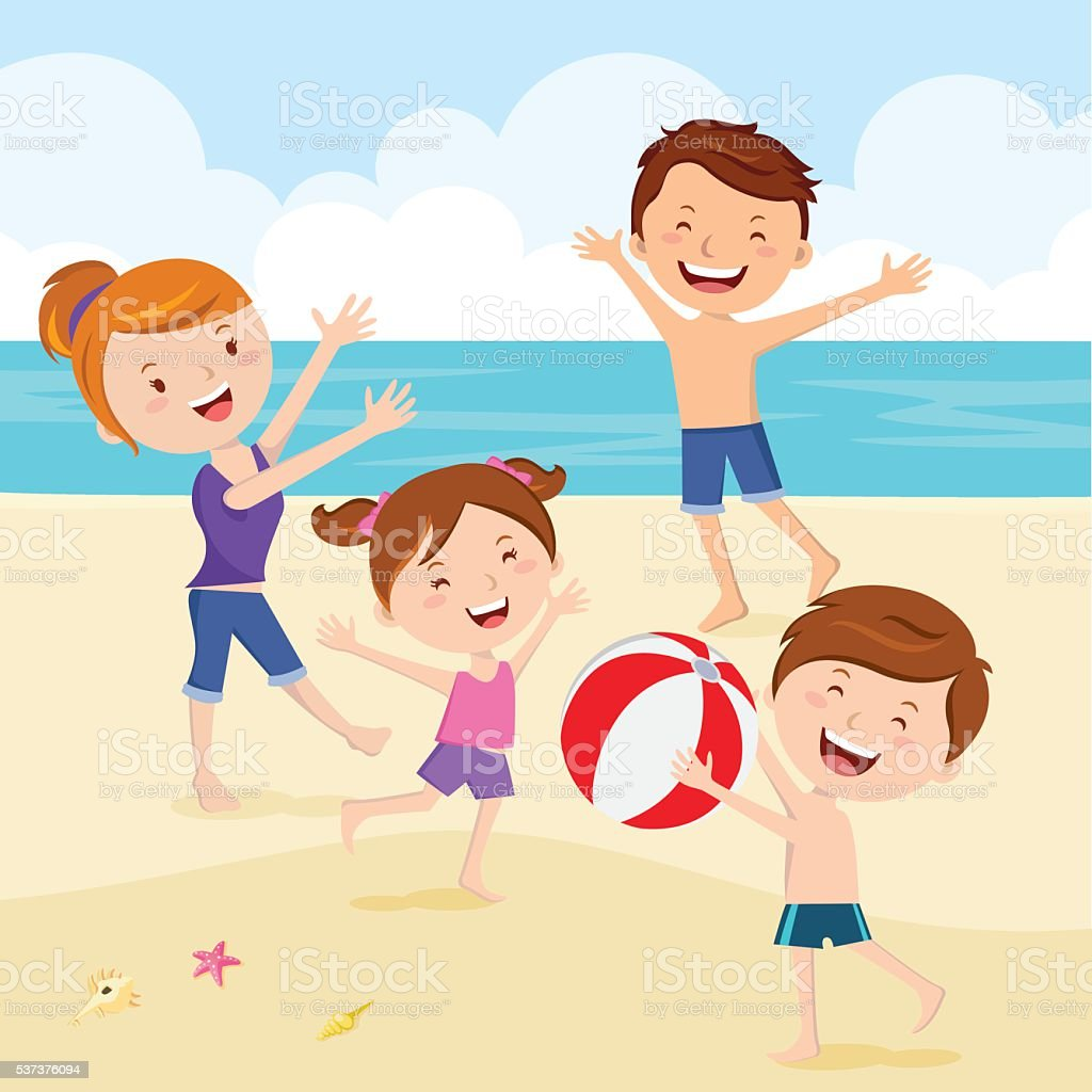 Happy family playing beach ball vector art illustration