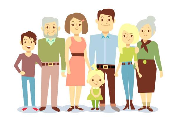 happy family portrait, vector flat characters - 姉妹点のイラスト素材/クリップアート素材/マンガ素材/アイコン素材