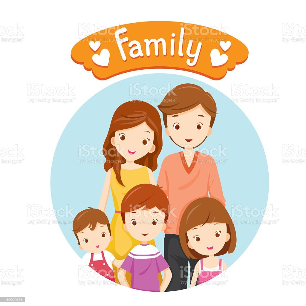 Happy Family Portrait vector art illustration